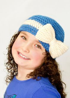 Pinning this simply for the bow!  Cutie Pie Beanie Crochet Pattern via Hopeful Honey