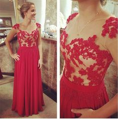 Charming See Though Prom Dress,Sexy Appliques Lace Cap