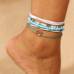 5 PCS/Set Bohemian Wave Beads Anklets Set - Bracelets and Anklets - Frauenschmuck Anklet Jewelry, Beaded Anklets, Anklet Bracelet, Cute Anklets, Silver Anklets, Strand Bracelet, Jewelry Necklaces, Cute Jewelry, Jewelry Accessories