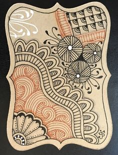 ATC. Julie Beland. Zentangle. ZIA. Beelight, Gryst, Fescu, Feathers, Sand Swirl, Flora. 7/16.