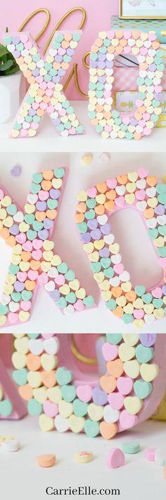 DIY Candy Heart XO Craft via @carrieelleblog | Valentine's Day crafts | easy crafts | Valentine decoration ideas | home decor inspirations | #easycrafts #valentinesdaycrafts