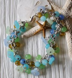 Beach bracelet of blues greens and yellow recycled by Beechtree, $36.00