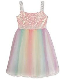 Rare Editions Girls' Sequin-Top Rainbow Dress