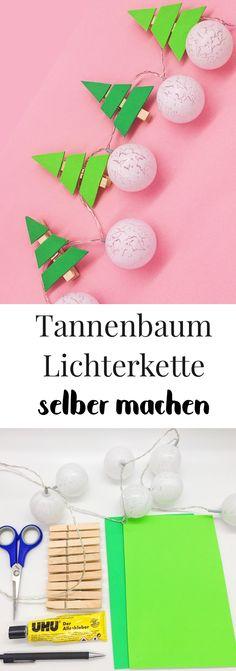 Deko für Weihnachten selber machen. DIY Lichterkette mit Tannenbäumen aus Moosgummi und Wäscheklammern basteln. Schöne Dekoration zum selber basteln für das Wohnzimmer oder für den Christbaum. Weihnachtsdeko basteln leicht, einfach und günstig. Auch für das Basteln mit Kindern geeignet.