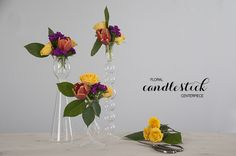 floral candlesticks using tiny tape grid to stabilize flowers