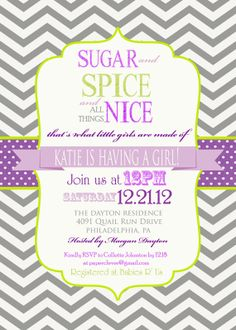 Girls baby shower invitation sugar & spice purple by paperclever, $13.00