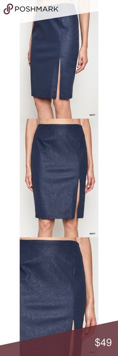 Navy High Waist Pencil Skirt So cute! Perfect for a day at the office  No trades. No lowball offers. Skirts Pencil