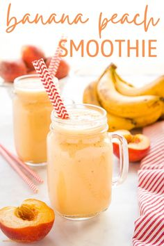 This Banana Peach Smoothie is creamy and delicious, packed with bananas and peaches - nutritious, dairy-free, and easy to make for a post-workout snack or breakfast!Recipe from thebusybaker.ca! #bananapeachsmoothie #smoothie #drink #postworkout #health #healthy #plantbased #dairyfree