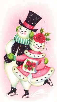 Items similar to Vintage Dancing Snowman Snowlady Pink Shabby Retro Christmas Card Print Quilt Cotton Fabric on Etsy Vintage Christmas Images, Old Christmas, Old Fashioned Christmas, Retro Christmas, Vintage Holiday, Outdoor Christmas, Vintage Greeting Cards, Christmas Greeting Cards, Christmas Greetings