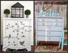 Stenciled furniture, I really want to do this with our dresser @Lindsey Wamsley