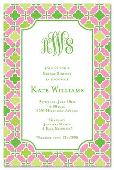 Pink and Green monogrammed invitation by the Inviting Company