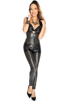 2e81d934fc8 Sexy Black Faux Leather Perforated Sleeveless Jumpsuit