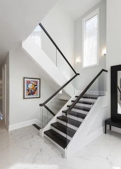 Bedford Park Home Renovation Glass Stairs Design, Staircase Design Modern, Modern Stair Railing, Home Stairs Design, Stair Railing Design, Interior Stairs, Design Your Home, Home Interior Design, House Design