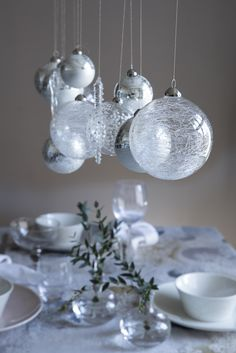 Glass Ball Ornaments | Pentik Christmas 2017 | Christmas 2017, Christmas Table, Ceiling Lights, Pendant Light, Light, Glass, Chandelier, Glass Ball, Glass Ball Ornaments