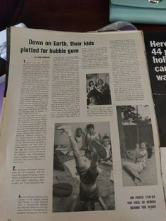 "headline from Life Magazine 1965 special issue on Ed White's space walk: ""Down on Earth, their kids plotted for bubble gum"" Life Magazine, Bubble Gum, Bubbles, Positivity, Moon, Earth, Space, Fall, Kids"