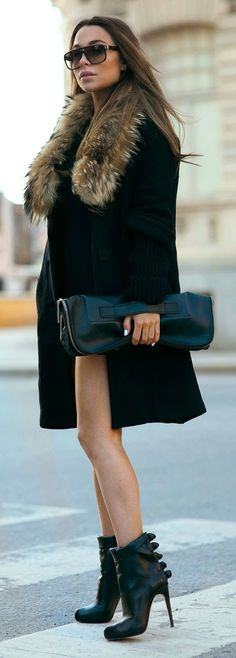 Black Coat with Faux Fur & Black High Heel Booties