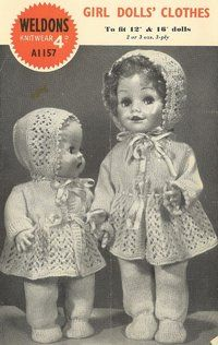 Weldons 1157 - dolls clothes - vintage knitting pattern