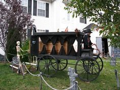 Halloween horse drawn hearse