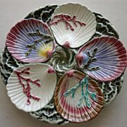 """Rare Antique  Wedgwood Majolica """"Ocean"""" Oyster Plate do this with sculpy using real or made shells"""