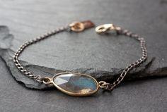 simple gemstone bracelet-mixed metal || ALEXIS RUSSELL