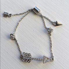 Dainty Crystal Arrow Accent Bracelet Silver New