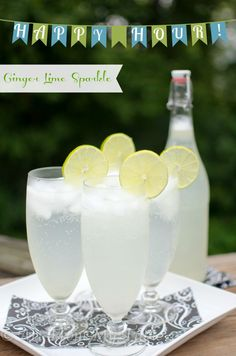 Ginger Lime Sparklers are refreshingly sweet, tart, and fizzy! Perfect for happy hour or an afternoon pick-me-up. Kid friendly too!
