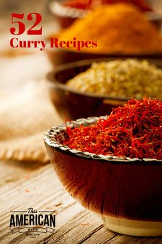 52 Curry Recipes to inspire you to make an Indian Themed dinner. #Vegetarian, #GlutenFree and #SlowCooker #recipes Included.