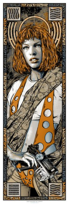 """geekynerfherder:  """" 'The Fifth Element' inspired 'Our Saviour Of Earth' by Rhys Cooper, is a new limited edition print release from Gallery1988.  It's a 12"""" x 36"""" 6-colour screenprint in a signed and numbered limited edition of 150 and costs $50.  Go..."""