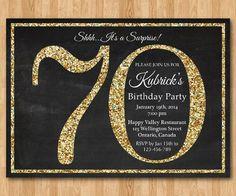 70th birthday invitation gold glitter birthday party by arthomer 10 00 carte invitation anniversaire