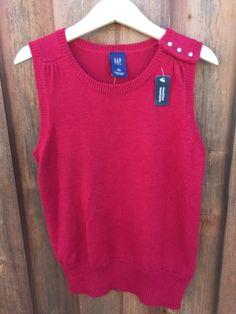 GAP-KIDS-Girls-Size-L-10-Red-Sweater-Tunic-Vest-Rhinestone-buttons-NWT-J165