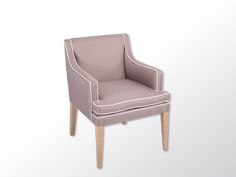 A clean-lined upholstered chair with a flat wing detail to the back and a shaped seat cushion.