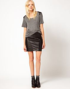 Kova & T Geneva Leather Skirt