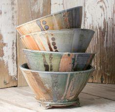 Four Shino Bowls - Porcelain Ceramic Tableware, Ceramic Clay, Porcelain Ceramics, Ceramic Bowls, Painted Porcelain, Fine Porcelain, Hand Painted, Pottery Bowls, Ceramic Pottery