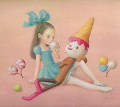 Nicoletta Ceccoli - Melt with you Arte Lowbrow, Pop Art, Mark Ryden, Art Deco Posters, Arte Horror, Creepy Cute, Mexican Folk Art, Fish Art, Whimsical Art