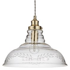 Buy John Lewis & Partners Hadley Etched Glass Pendant Ceiling Light, Clear/Antique Brass from our Ceiling Lighting range at John Lewis & Partners. Hadley, Glass Etching, Glass Pendants, John Lewis, Glass Shades, Light Up, Ceiling Lights, Antiques, Beautiful