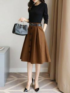 Color-block Long Sleeve A-line Elegant Midi Dress Mode Midi Skirt Outfit Aline Colorblock Dress elegant long Midi Mode sleeve Elegant Midi Dresses, Trendy Dresses, Nice Dresses, Beautiful Dresses, Club Dresses, Look Fashion, Korean Fashion, Womens Fashion, Classic Fashion