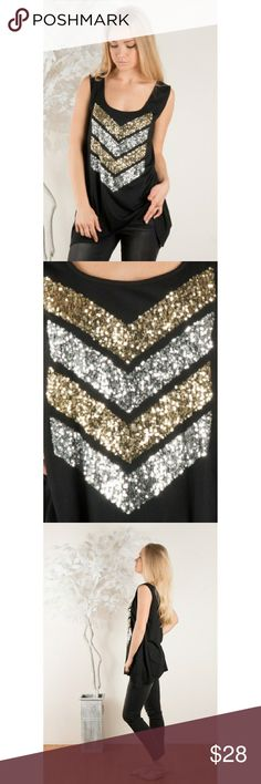 Sequins Embellished Tank Brand new, solid black scoop tank with sequins embellished chevron design. Super cute! Comes in original, unopened packaging. S, M & L sizes available -- select your size at checkout! Fits true to size. **no trades** Tops Tank Tops