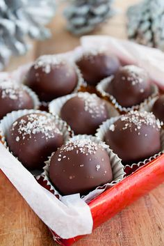 Dark Chocolate-Salted Caramel Truffles with Fleur-de-Sel.  Not a recipe for beginners but would be great for Valentine's Day.