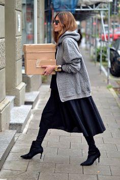 Sports Luxe | street style | grey marl hoodie