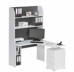 Amazon.de: Schreibtischkombination inkl. Regal in weiß mit Absetzungen in dunkelgrau, 4 Fächer und 3