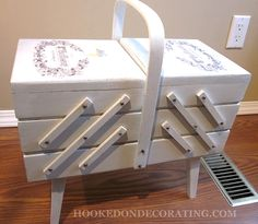 Sewing basket transformation. I need to get my hands on one of these.