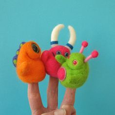 Larry, Moe and Curly the finger puppet monsters by squirrel momma