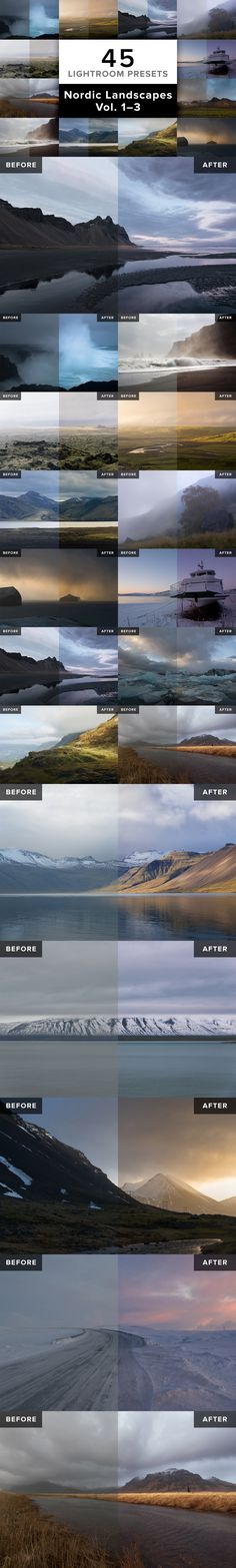 NORDIC LANDSCAPES – Vol. 1, 2 & 3 // 45 Lightroom Presets specially developed for landscape photos taken in Nordic countries like Iceland, Canada, Norway or Greenland.