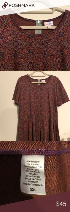 ➕ LLR 3x Amelia Jacquard Red, Purple, Gold Pattern LuLaRoe 3x Amelia Dress Jacquard Red, Purple, Gold Pattern. Gorgeous EUC, worn 1x after searching it out - Amelia just isn't great on me. Amelia dresses have pockets, zippered backs, puff sleeves, and box pleated skirts. Gorgeous material and plenty of ways to style with belts, a matching cardigan, and more! PERFECT for all sorts of events - Valentines Day, a wedding shower, or Easter! LuLaRoe Dresses