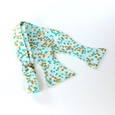 Mint Green Men's Bow Tie with Gold Dots  by HandmadeByEmy on Etsy