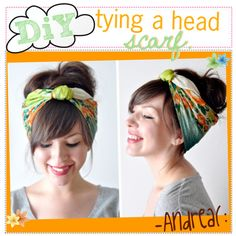 Cute hair scarf tutorial found on Polyvore!