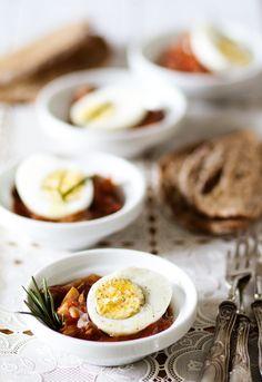 Receta 444: Huevos duros con salsa cazadora » 1080 Fotos de cocina