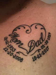 Dad memorial tattoos for daughters. moms who love tattoos Tattoo Parents, Mum And Dad Tattoos, Daddy Tattoos, Parent Tattoos, Family Tattoos, Tattoos For Daughters, Tattoo Mom, Daughter Tattoos, In Loving Memory Tattoos