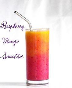 Raspberry Mango Sunrise Smoothie, beautiful and tasty!