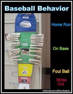 Behavior Chart Using a Baseball Theme (Behavior Chart RoundUP via RainbowsWithinReach)